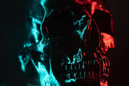 Ancient human skull head close-up. Neon turquoise and red light. Spooky and sinister. Glamour, disco, halloween concept.