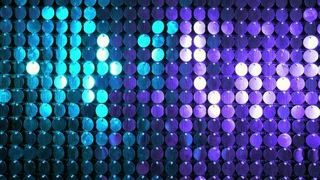 Blue and purple sparkles shining reflective background. Abstract kinetic glitter