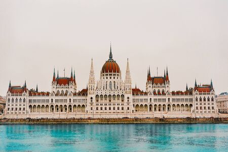 View to Hungarian Parliament. Beautiful scene of ancient gothic architecture