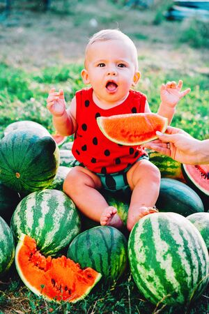 Happy little baby boy in funny costume sitting and eating slice of watermelon on field or garden. Happy Infant child smiling. Kid eat fruit outdoors.