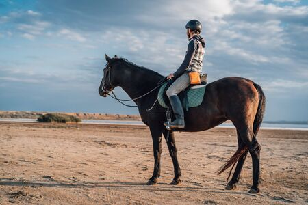Woman rides horse on beautiful autumn nature landscape by river or lake. Sun flare, beautiful background. Concept of farm animals, training, horse racing 版權商用圖片