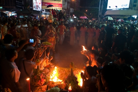 mariamman: Navaratri Festival at Maha Uma Devi temple, Silom Street, Bangkok, Thailand - Oct 24,2012 - The faithful prey for a wish in Narvaratri Festival 02. Editorial