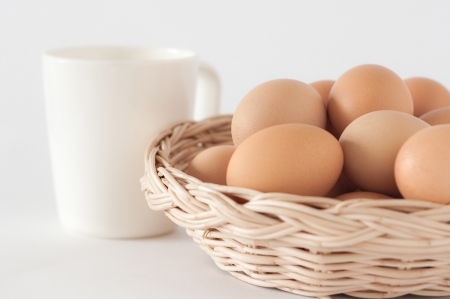 health care provider: Eggs in the brown basket and a cup of milk
