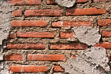 moulder: Old decay red brick wall with harsh light 02