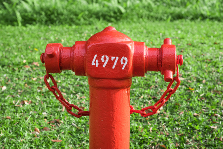 Close-up Fire hydrant with grass background Stock Photo