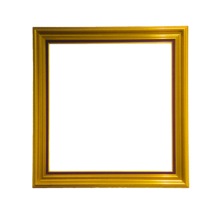 antecedents: gold picture frame. Isolated over white background