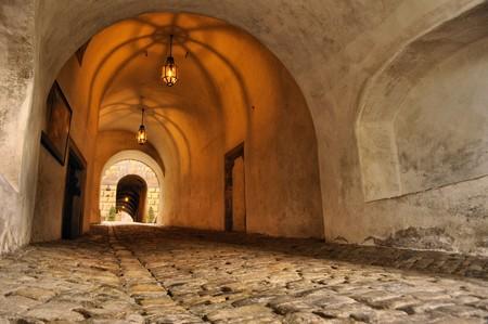 성 로프의 오래 된 복도 스톡 콘텐츠