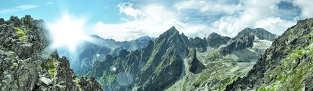 nice panorama view of hight mountains photo