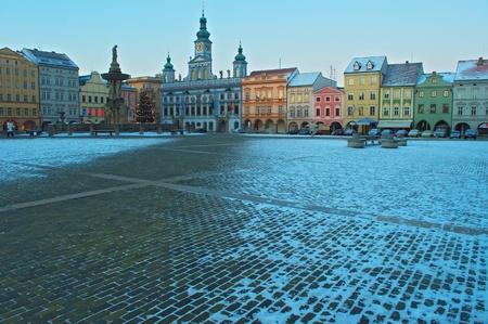 겨울에 큰 Budweis 광장 스톡 콘텐츠