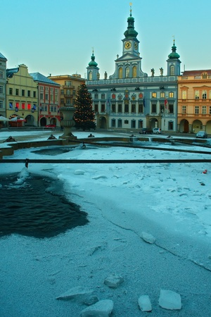 budweis fountain on winter time