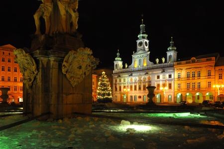 big fountain on historic square