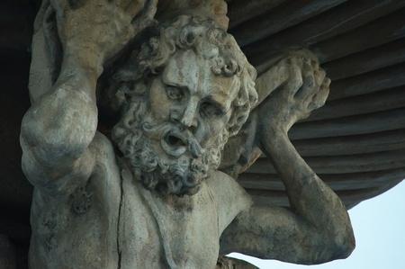 big statue of Samson in Budweis
