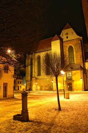 old church at night in winter Stock Photo