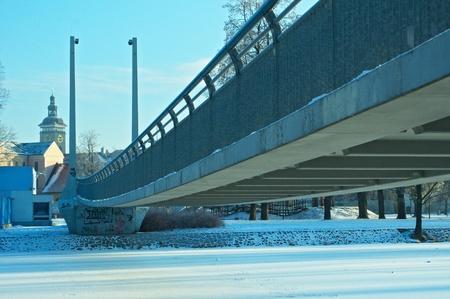 ceske: modern bridge in historic town