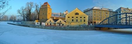 old town in winter time Standard-Bild