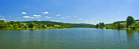 panorama of lake on summery day