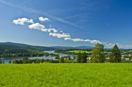 lipno: green meadow near Lipno lake Stock Photo
