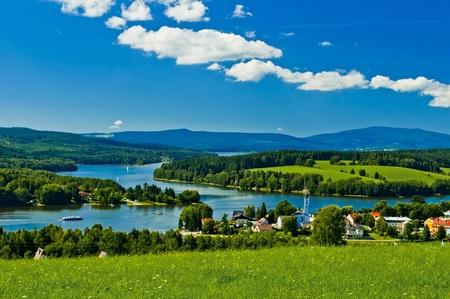 lipno: Frymburk village near Lipno lake Stock Photo