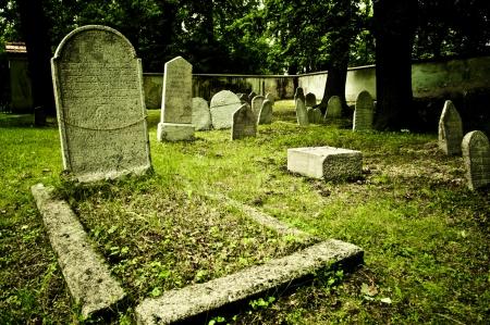 유태인 묘지에있는 오래된 묘비