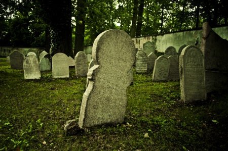 cemetary: old gravestone in Jewish cemetery