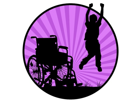 crippled: silhouette of jumping invalid man