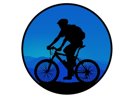 silhouette of dark mountain biker  photo