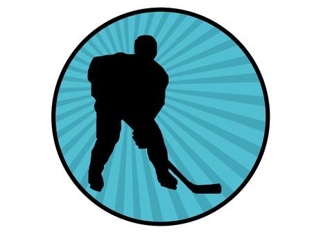 black silhouette of hockey player