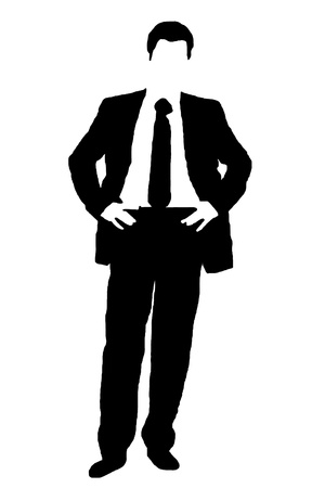 businessman silhouette from thematic text photo