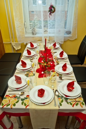 festive table on christmass day photo