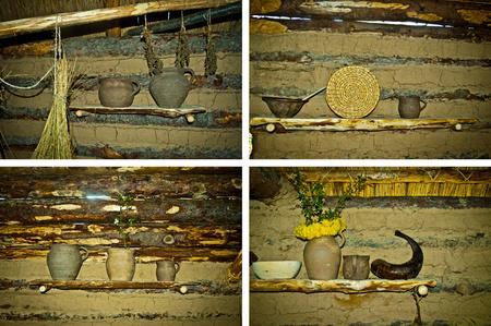 old shelfs in prehistoric hut Standard-Bild