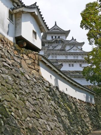 feudal: Detail of the inner walls of beautiful Himeji Castle. This huge castle, which is also called Editorial