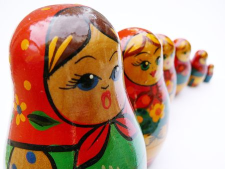 made in russia: Six russian dolls in a row.