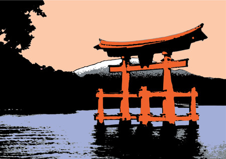 torii: Torii at dawn. The Illustration