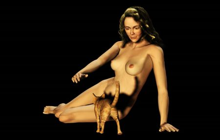 3d nude: Smiling woman preparing to stroke an approaching cat (digitally rendered). Stock Photo