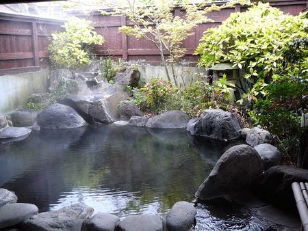 ryokan: Separate, private onsen (hot spring) in Kyushu, Japan. Due to the volcanic activity, there are natural hot spring in many places in Japan. Japanese people love to take a bath in the hot water. a separate onsen is usually only found in more expensive ryoka