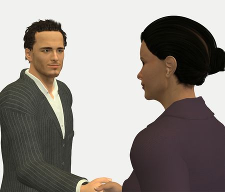 businesslike: Woman and Man shaking hands in a business-like atmosphere. Digitally created 3d rendering. Stock Photo
