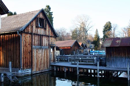 starnberger see: Old wooden boat houses on Lake Starnberger See near the Alps in Bavaria, Germany. Stock Photo
