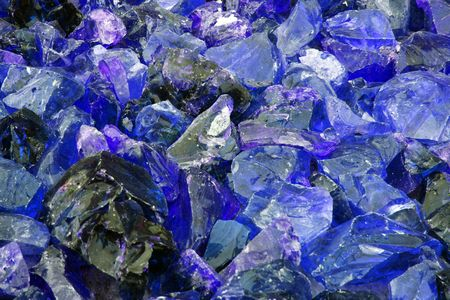 shards: Close up of shards of Blue Glass, used as decoration.
