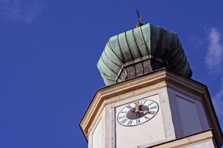 The bell tower of a typical Bavarian church.  photo