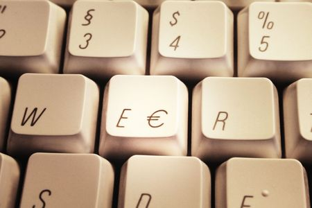 eec: Detail of a computer keyboard with euro key.  Stock Photo