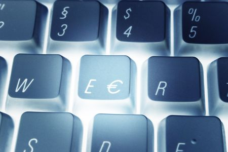 valuta: Detail of a computer keyboard with euro key.  Stock Photo