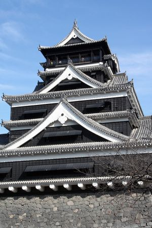 The main building of Kumamoto castle in Kyushu, Japan.