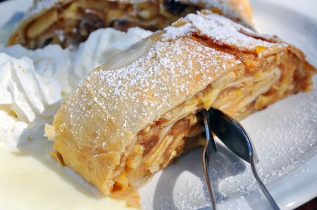 Apple strudel with cream and vanilla sauce is a specialty sweet in Southern Germany and Austria.