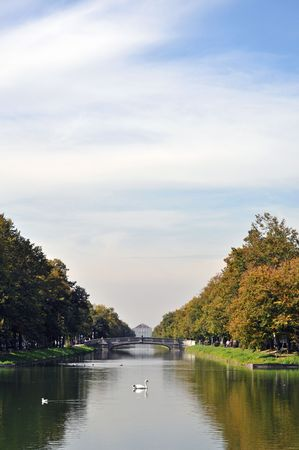 nymphenburg palace: The canal leading to the baroque palace of Nymphenburg in Munich, Germany.