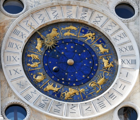 Old astronomical clock with zodiac signs and moon phase Stock Photo