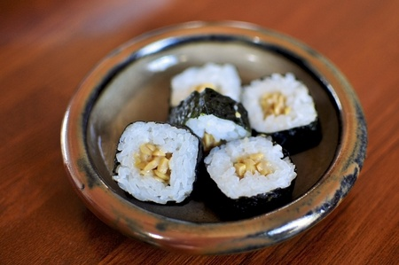 Maki rolls filled with natto, or nattou, fermented soybeans. An Japanese speciality not many westerners like.