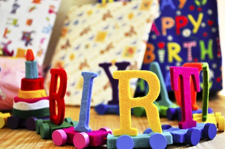 Birthday decoration on a kids gift table