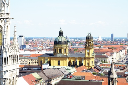 View from above at Munich towards north, facing Theatinerkirhce Cathedral and Schwabing  Stock Photo