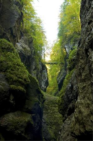 chasm: Bridge over the ravine of Partnachklamm in the Bavarian Alps
