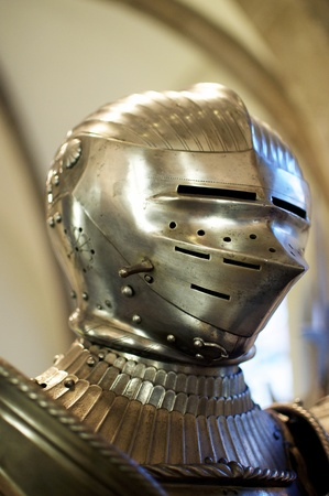 Heavy, medieval iron helmet from a German Knight Stock Photo - 11279838